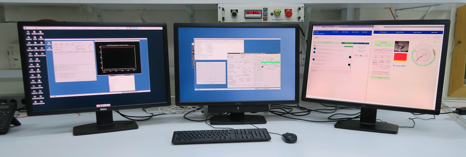 A typical setup for Remote Parkes Observing. L-R: Screen 1 with VNC2 running the correlator software; Screen 2 with VNC1 running the primary observing software; Screen 3 with the PORTAL and FROG. NOTE: This three screen setup is not essential, but it does allow for easy visual monitoring of the observation. Also to note for UWL observations, the first screen would be replaced with an additional web browser window containing DHAGU and the second would show the VNC1 desktop but with the UWL GUI for LNA control and OPERFCC for receiver translation.